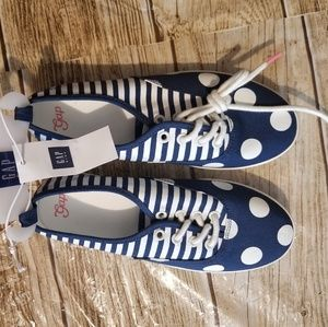 New Gap Kids Polka Dot Stripes Blue and White Sz 2